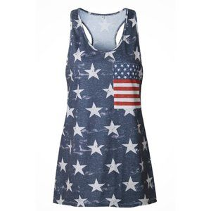 Navy & White Star Tank Top with Flag Pocket
